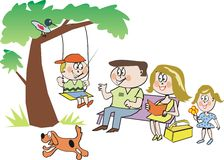 Happy family in park cartoon. Cartoon showing smiling family in park with boy on swing Royalty Free Stock Photos