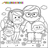 Happy family at the park coloring book page Stock Photo