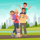 Happy family in the park. Father, mother, son and daughter together in nature. Vector illustration. In cartoon style royalty free illustration