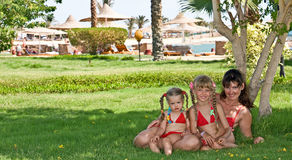Happy family  in park near beach. Stock Images