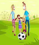 Happy family in park. Happy family playing soccer in park Stock Image