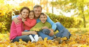 Happy family in park Stock Photography