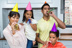 Happy family partying in the kitchen Stock Photos