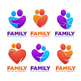 Happy family, people, man, woman, kids and happiness. Vector set of logo, emblems and symbols Stock Images