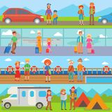 Happy family people with suitcases vacation summer travel lifestyle tourist characters vector illustration. Stock Photos