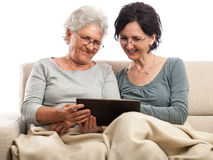 Happy family people with tablet Stock Photo