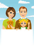 Happy family with pet dog holding a white blank billboard Royalty Free Stock Photo