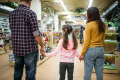 Happy family in pet shop, back view. Father, mother and little daughter in petshop Royalty Free Stock Image