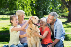Happy family petting their dog in the park Stock Image