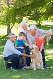 Happy family petting their dog Royalty Free Stock Photography