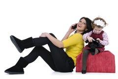 Happy family at phone Royalty Free Stock Image