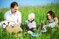 Happy family picnic Stock Photography