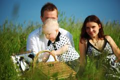 Happy family picnic Royalty Free Stock Images
