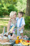 Happy family on a picnic. The son embraces mother Stock Photos