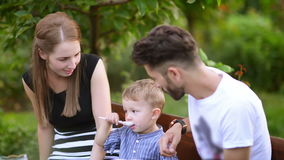 Happy Family at Picnic stock video footage