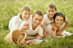 Happy Family on picnic Royalty Free Stock Photos