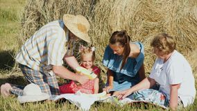 Happy family on picnic at the meadow. Multi aged family have a picnic in the meadow. Grandfather slicing melon with knife. Mother with little daughter and her stock video