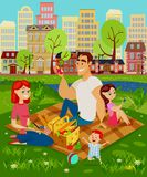 Happy family on a picnic. Family on a picnic. Mom, dad and their children are sitting on the grass, there is a basket of food in front of them. Kid playing with royalty free illustration