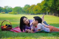 Happy family picnic Stock Image
