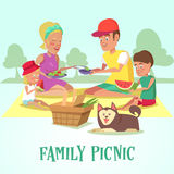 Happy Family on a Picnic in the Park. Mother, Father, Son, Daughter and Dog are Resting in Nature Royalty Free Stock Photo