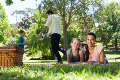 Happy family on a picnic in the park Stock Image