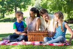 Happy family on a picnic in the park Stock Photography
