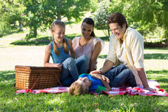 Happy family on a picnic in the park Stock Photos