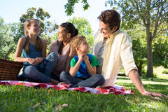 Happy family on a picnic in the park Royalty Free Stock Photo