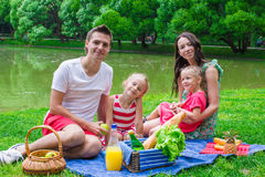 Happy family picnicking in the park Royalty Free Stock Photography