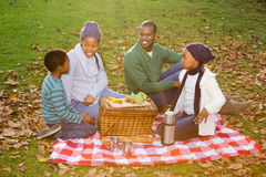 Happy family picnicking in the park together Royalty Free Stock Images