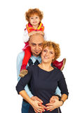 Happy family in piggy back Stock Photos