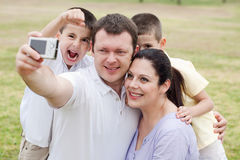 Happy family pilled together stock photos