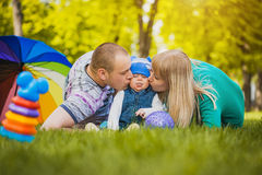 Happy family are plaing in the park Stock Photo
