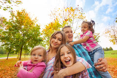 Happy family play in autumn park hug little kids. Happy family play in the autumn park hugging little kids in sunny weather and colorful maple trees Stock Photography