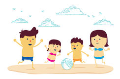 Happy Family play ball on the beach. Happy family fun with play ball on the beach in cartoon version and mix a drawing style Royalty Free Stock Photos
