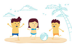 Happy Family play ball on the beach. Happy family fun with play ball on the beach in cartoon version and mix a drawing style Royalty Free Stock Photo