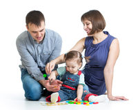 Happy family play toys Royalty Free Stock Photo