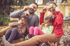 Happy family playing at backyard, go hide with leaves. Happy family Stock Photography