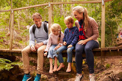 Happy family playing on a bridge in a forest, full length Royalty Free Stock Photography