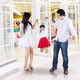 Happy family playing in the mall Royalty Free Stock Images
