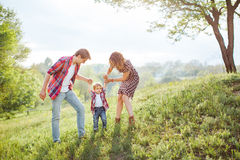 Happy Family Playing on the Nature Royalty Free Stock Photo