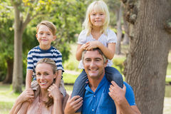 Happy family playing in the park together Royalty Free Stock Photo
