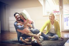 Funny fight. stock images