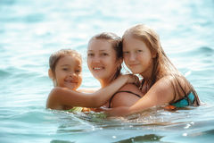 Happy family playing on sea. Portrait Happy family playing on sea Royalty Free Stock Photos