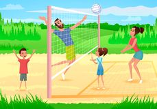 Happy Family Playing Sports in Park Cartoon Vector vector illustration