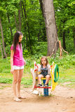Happy family playing together at outdoor park Royalty Free Stock Photo