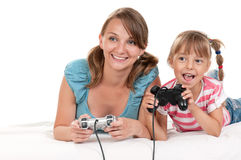 Happy family playing a video game Stock Image