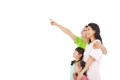 Happy family  pointing and look Stock Photography