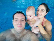Happy family in pool Royalty Free Stock Photo
