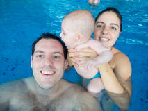Happy family in pool Stock Photography